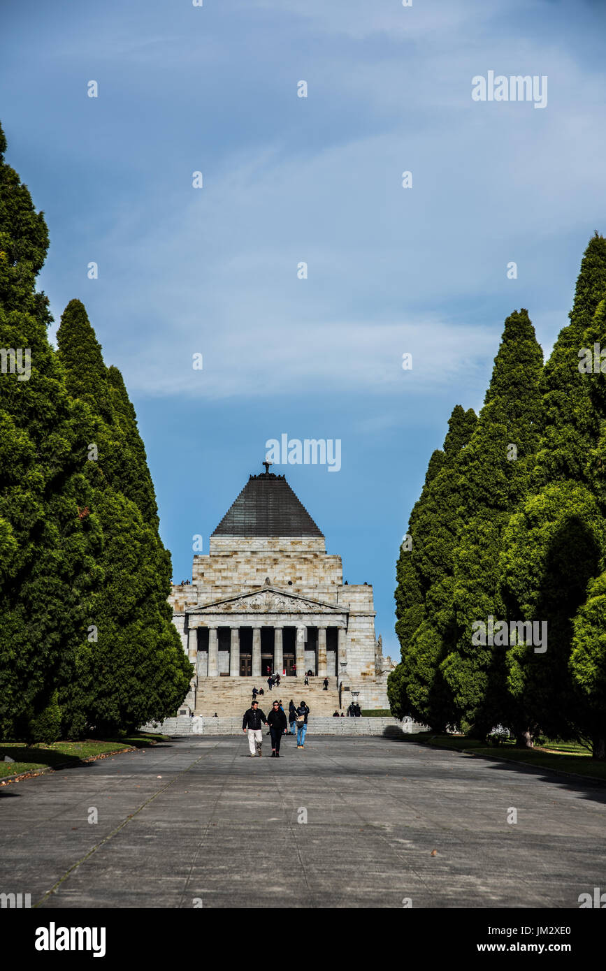 the shrine of remembrance in Melbourne - Stock Image