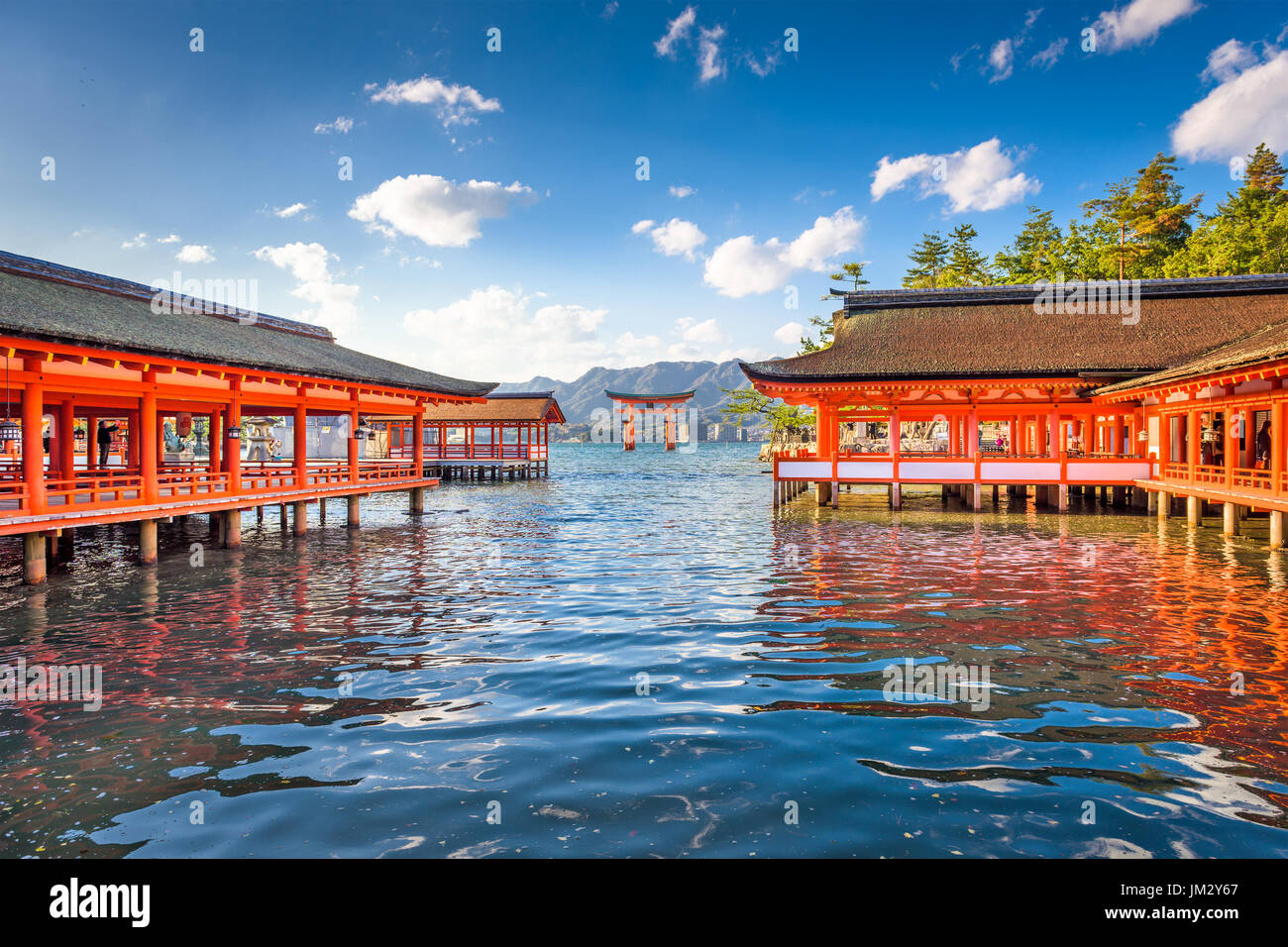 Miyajima, Hiroshima, Japan floating temple gate. - Stock Image