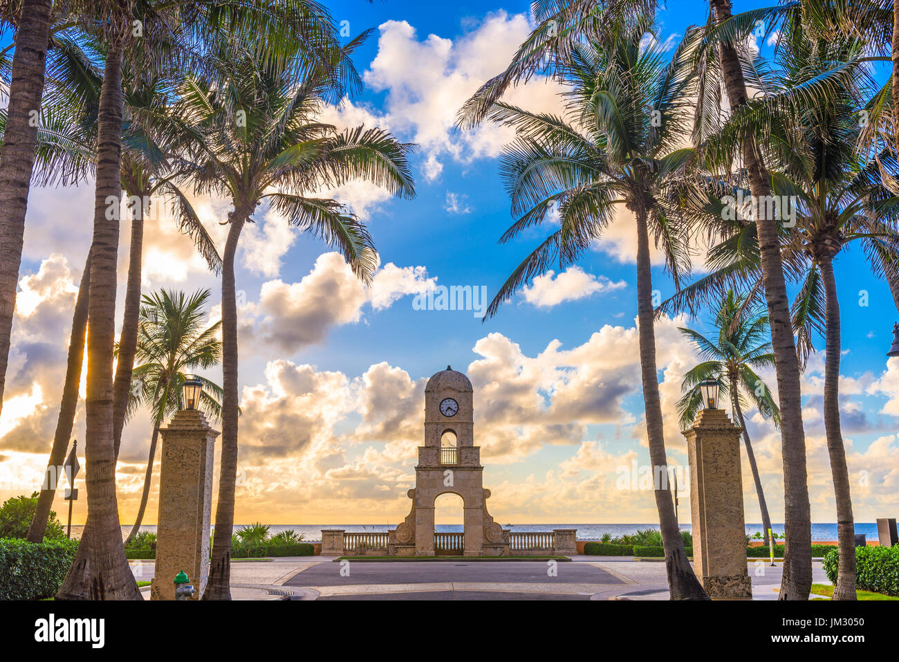 Palm Beach, Florida, USA clock tower on Worth Ave. Stock Photo