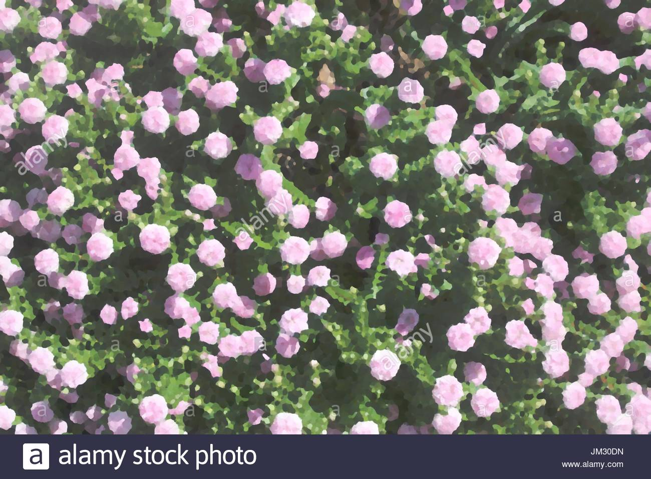 Digitally modified pink and green millefleur decor in impressionist style for background use - Stock Image