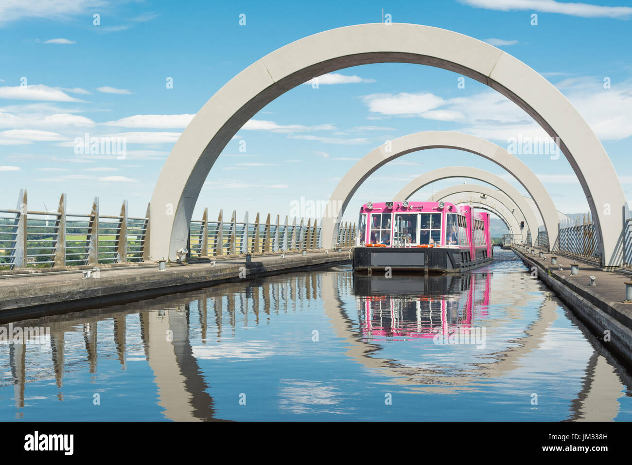 The Falkirk Wheel - boat trip at the top of the wheel - Stock Image
