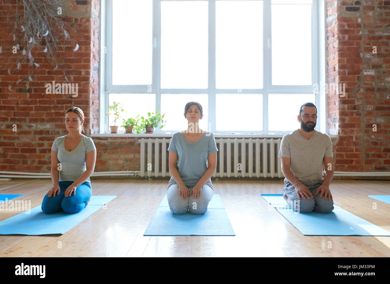 group of people meditating at yoga studio - Stock Image
