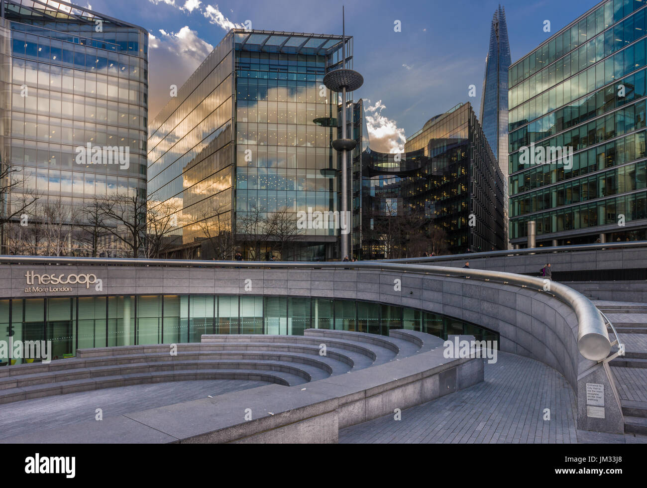 City Hall is the headquarters of the Greater London Authority, located in Southwark on the south bank of the River Thames near Tower Bridge. - Stock Image