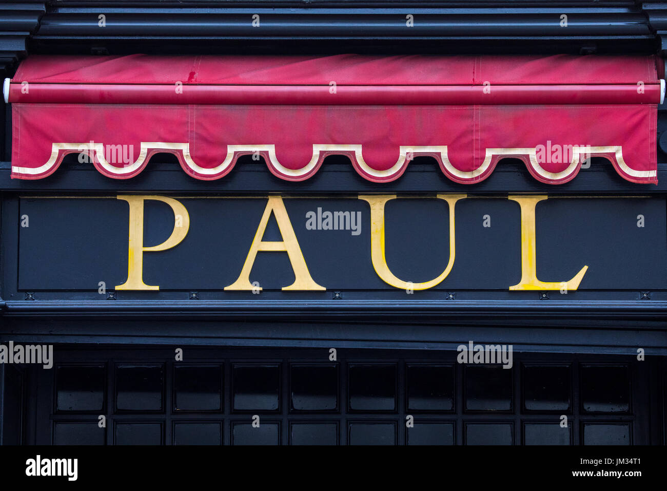 LILLE, FRANCE - JUNE 25TH 2017: The company logo above one of the Paul cafe restaurants in the city of Lille, France, on 25th June 2017. - Stock Image