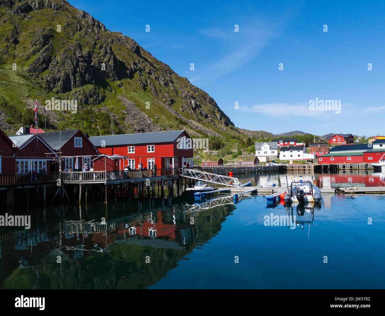 Kraemmervika Havn Ballstad village in the municipality of Vestvågøy Lofoten archipelago Norway one of largest fishing villages of Lofoten - Stock Image