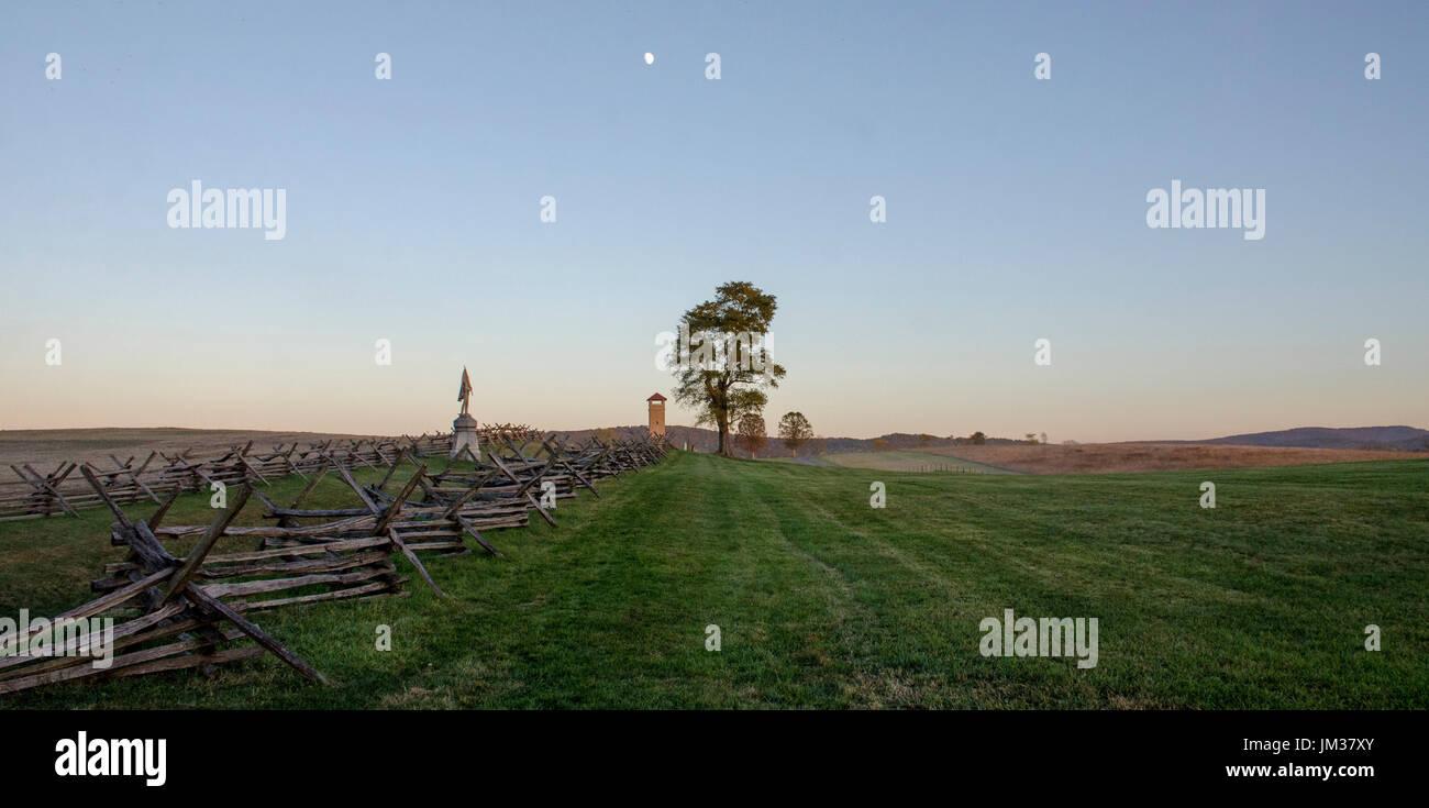 Moon rises over the Sunken Road, Antietam National Battlefield, Sharpsburg, MD. The American Civil War Battle of Antietam occurred on September 17, 18 - Stock Image