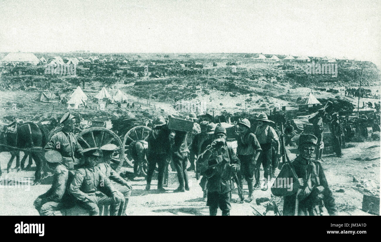 Carrying stores to Australian camp, Gallipoli Campaign, 1915 - Stock Image