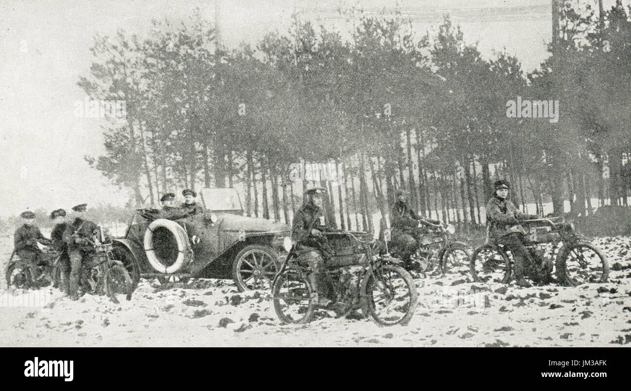 Motorised reconnoitre squad, ww1 - Stock Image