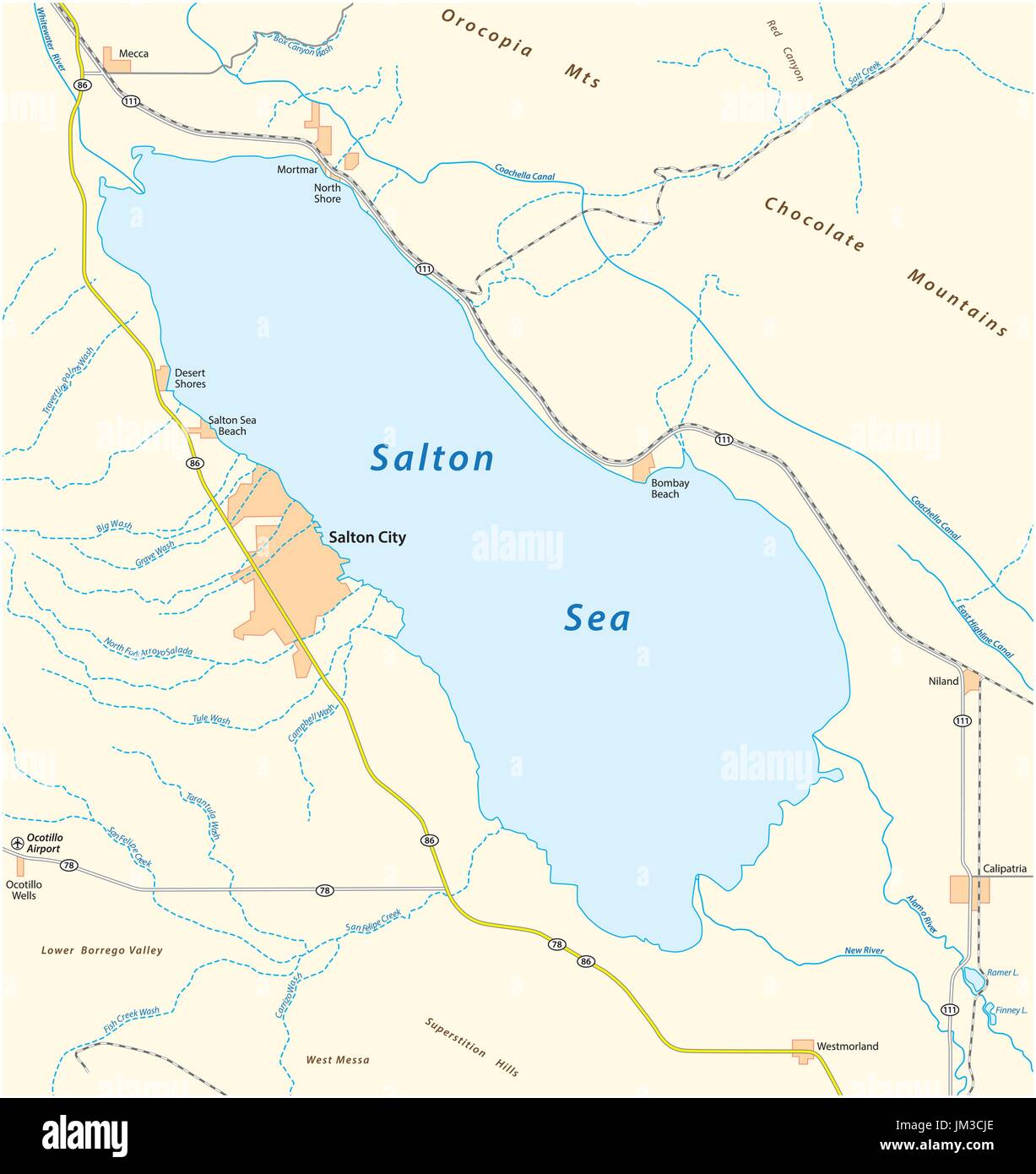 Road map of the californian salton sea Stock Vector Art