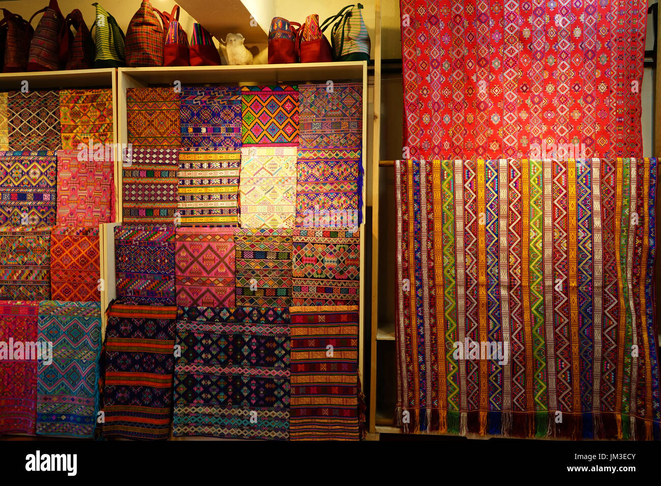 Hand woven fabric at the Textile factory in Thimphu, Bhutan - Stock Image