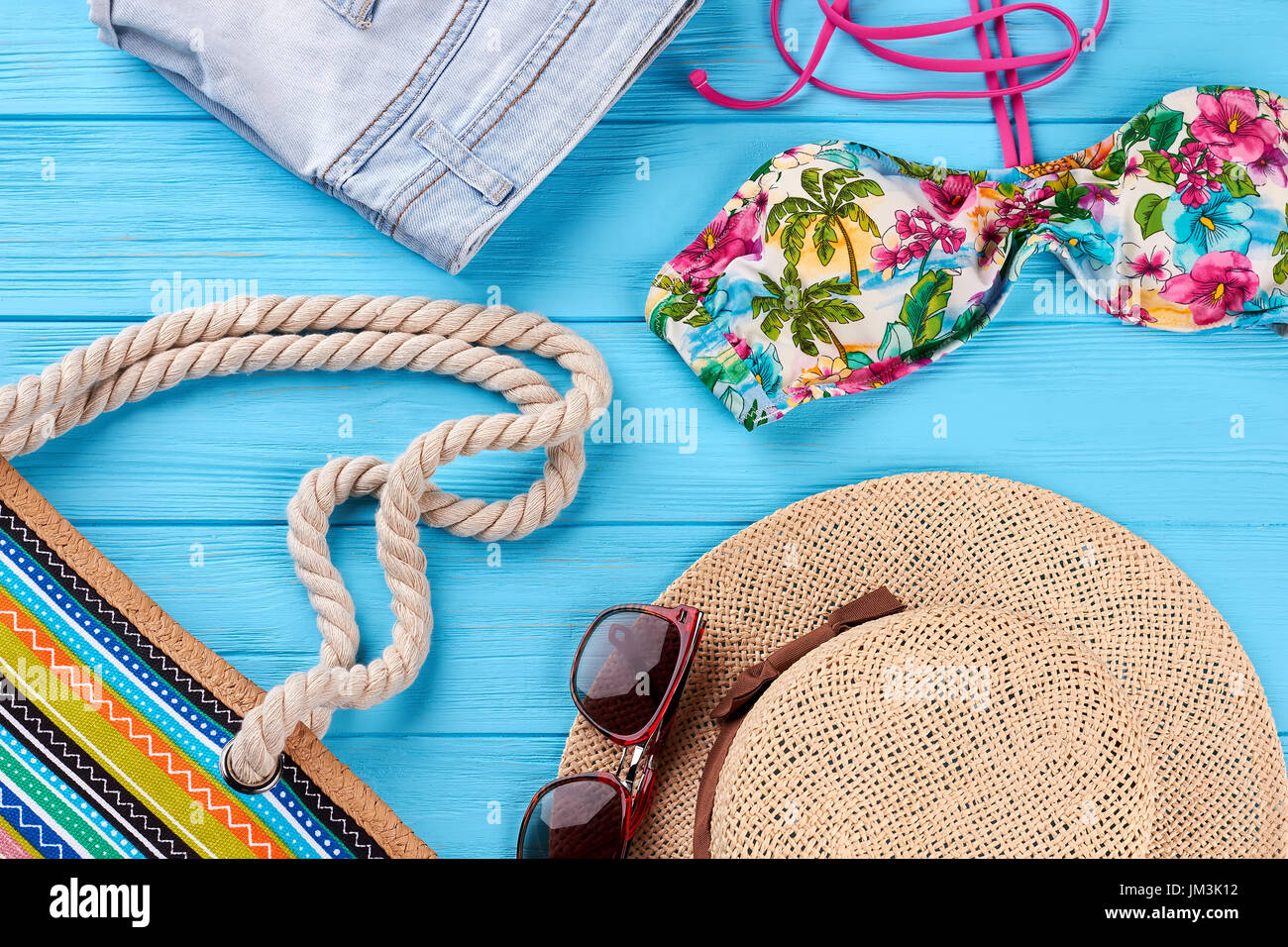 d3be43c68f7 Beach clothing close up. Woven hat