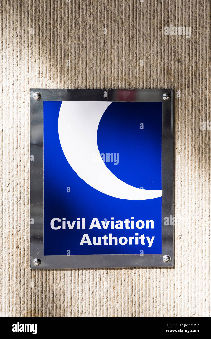 Dronesafe window display at the Civil Aviation Authority building on Kingsway, London, England, U.K. - Stock Image