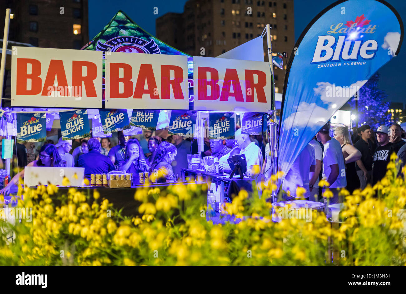 Detroit, Michigan - A beer garden at the opening of Beacon Park, a privately-financed public space developed by DTE Energy. - Stock Image