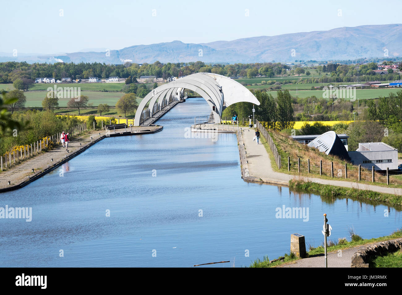 The Falkirk Wheel boat lift linking  the Union Canal and Forth & Clyde Canal, Falkirk, Scotland - Stock Image