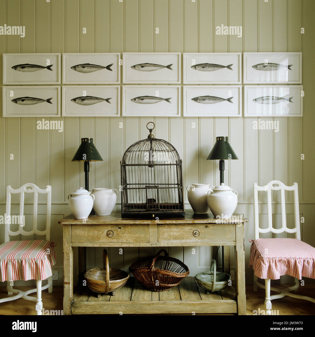 Rustic country style interior design - Stock Image