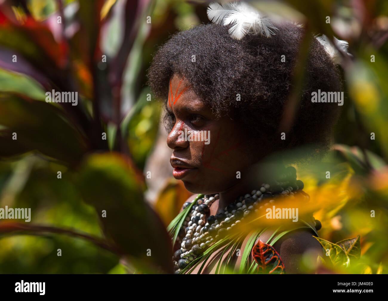 Portrait of a Small Nambas tribeswomen, Malekula island, Gortiengser, Vanuatu - Stock Image