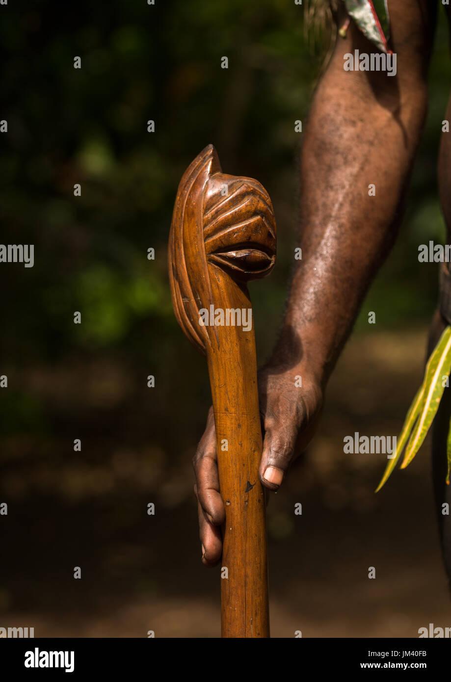 Chief walking stick cane used during the palm tree dance of the Small Nambas tribe, Malekula island, Gortiengser, Vanuatu - Stock Image