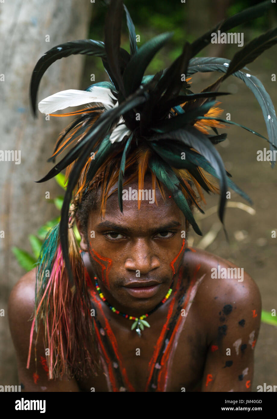 Portrait of a Small Nambas tribesman with feathers in the hair, Malekula island, Gortiengser, Vanuatu - Stock Image