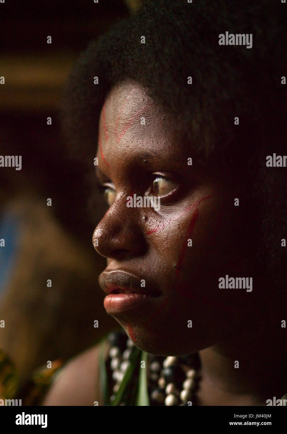 Portrait of a Small Nambas tribeswoman, Malekula island, Gortiengser, Vanuatu - Stock Image