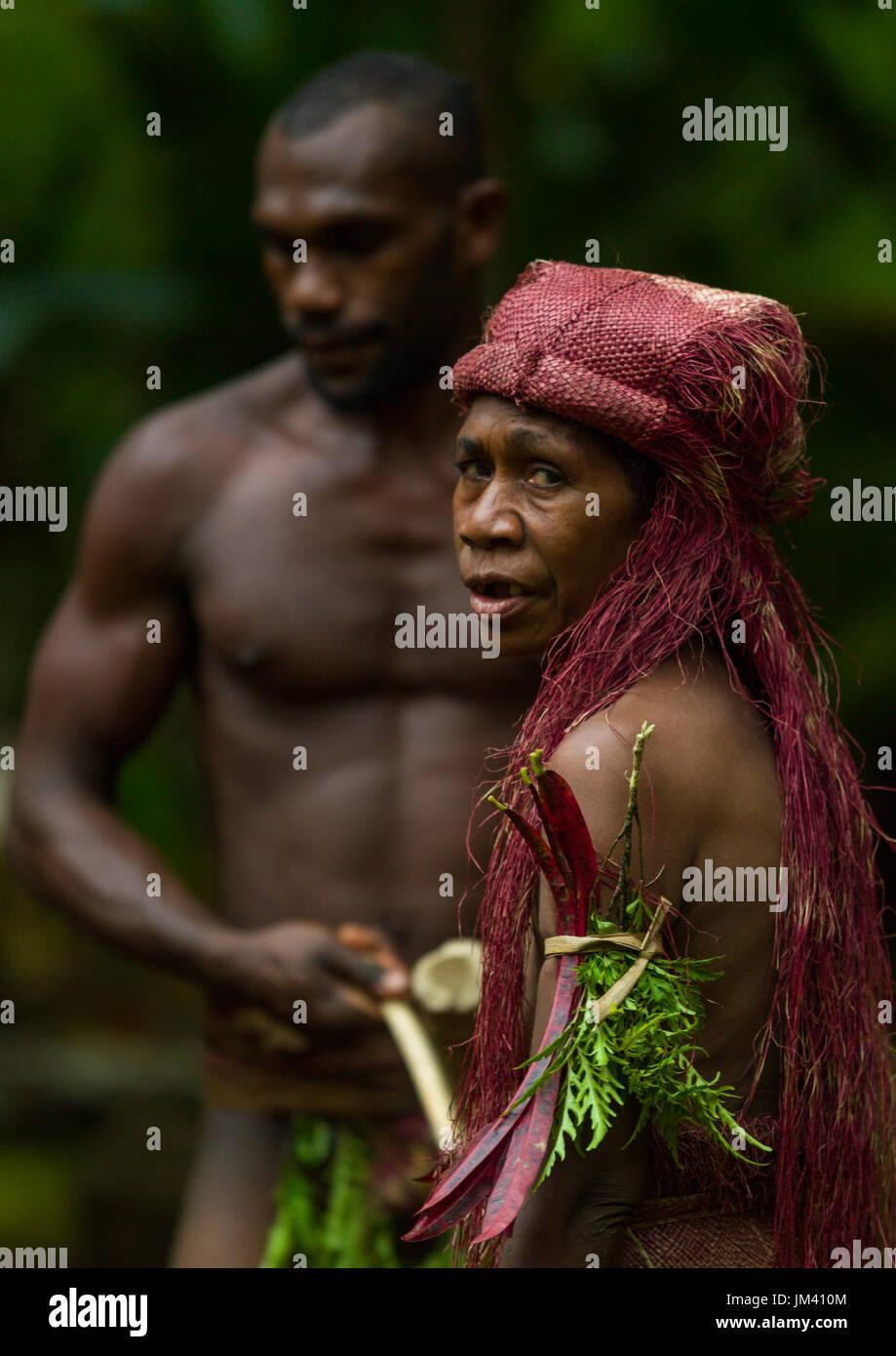 Big Nambas tribe old woman, Malampa Province, Malekula Island, Vanuatu - Stock Image