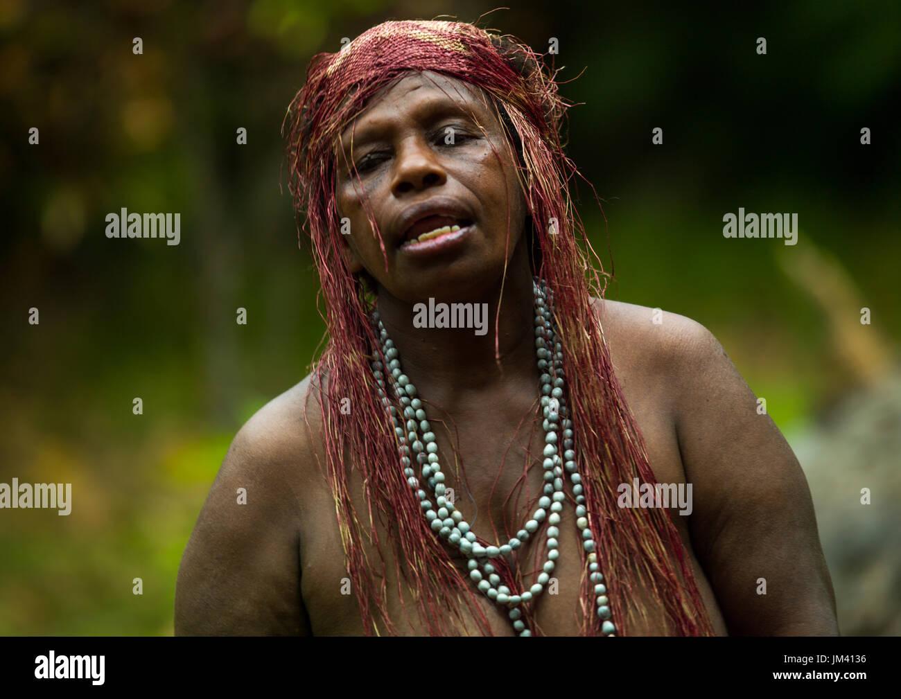 Portrait of a Big Nambas tribe woman, Malampa Province, Malekula Island, Vanuatu - Stock Image
