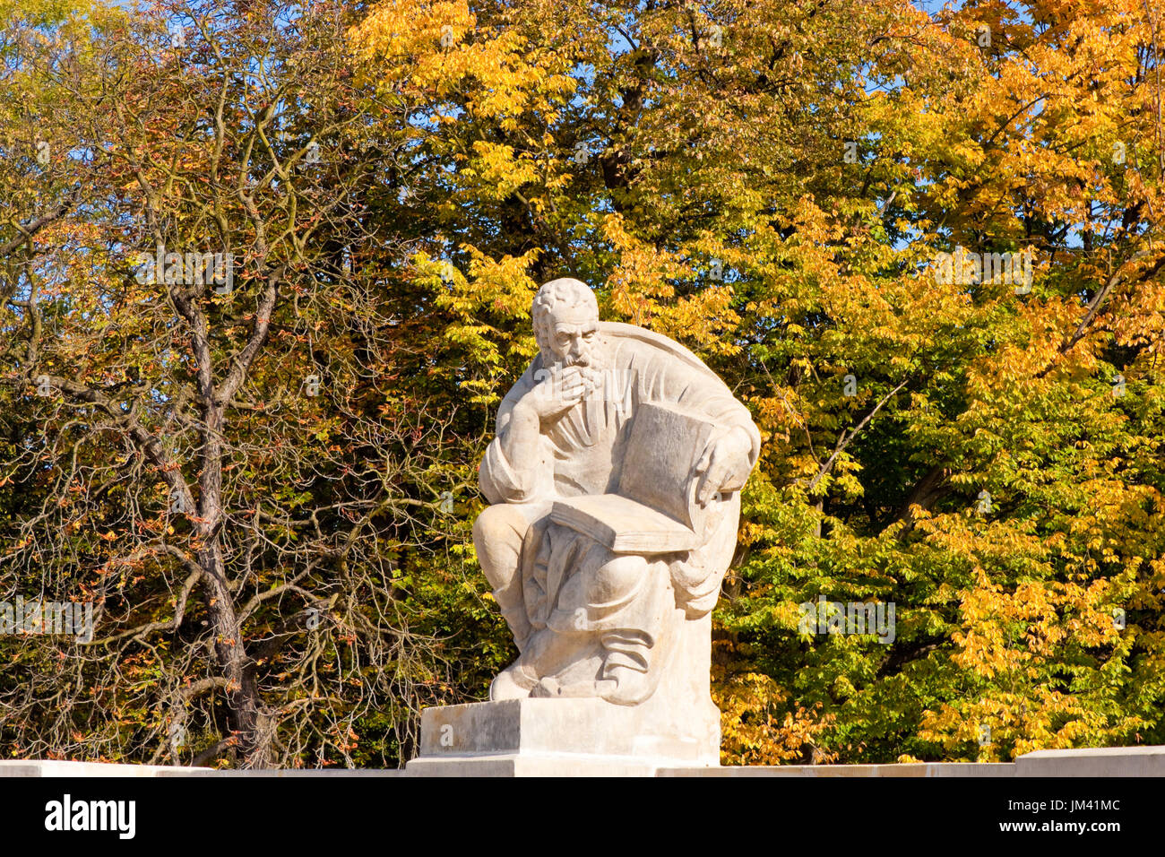 Statue of Aristophanes in The Amphitheatre on the Island in Lazienki park (Royal Baths park), Warsaw, Poland - Stock Image