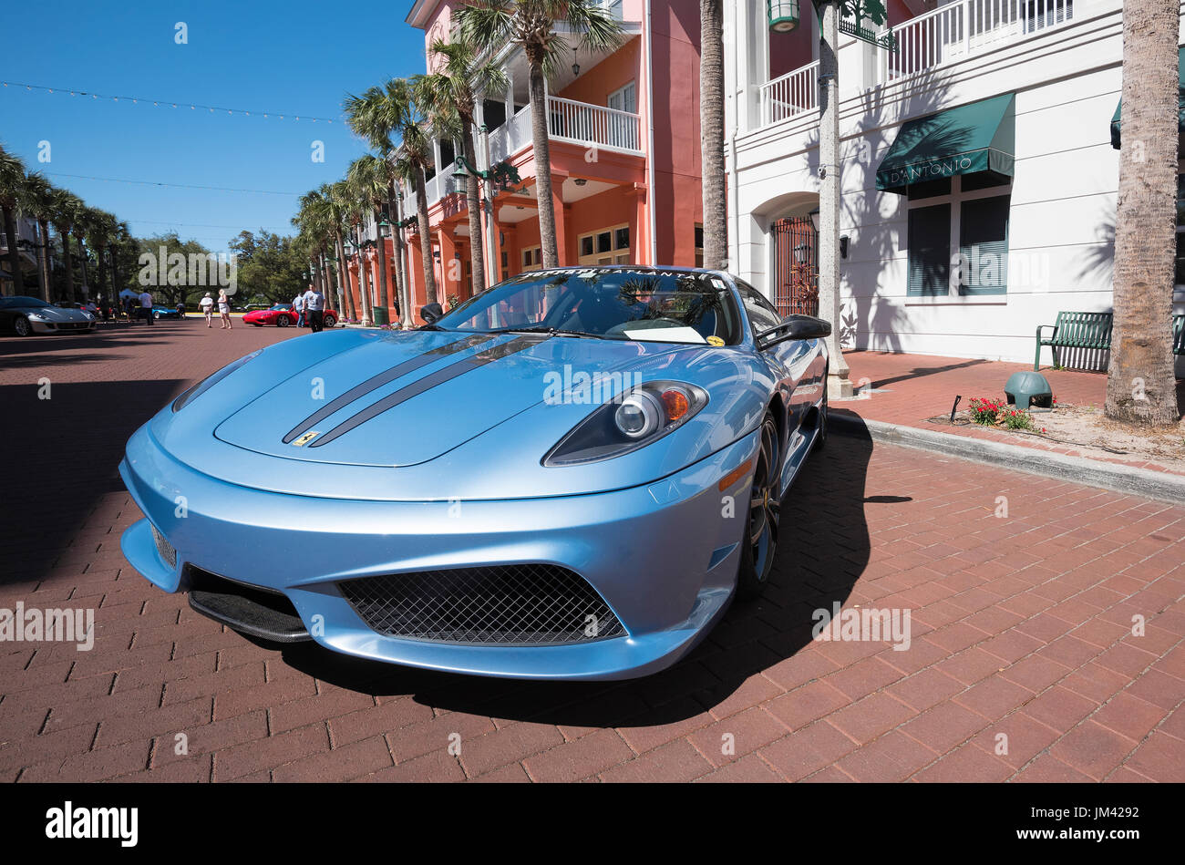 Ferari classic car parked in downtown Celebration (Florida) during the  annual Classic Car Show. - Stock Image