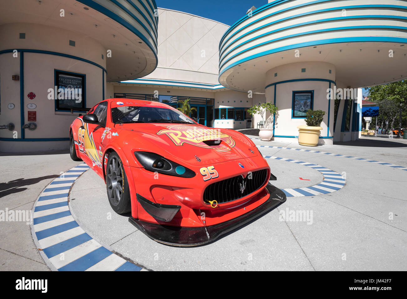 Maserati classic car parked at Cinema during the Celebration (Florida) annual Classic Car Show. - Stock Image