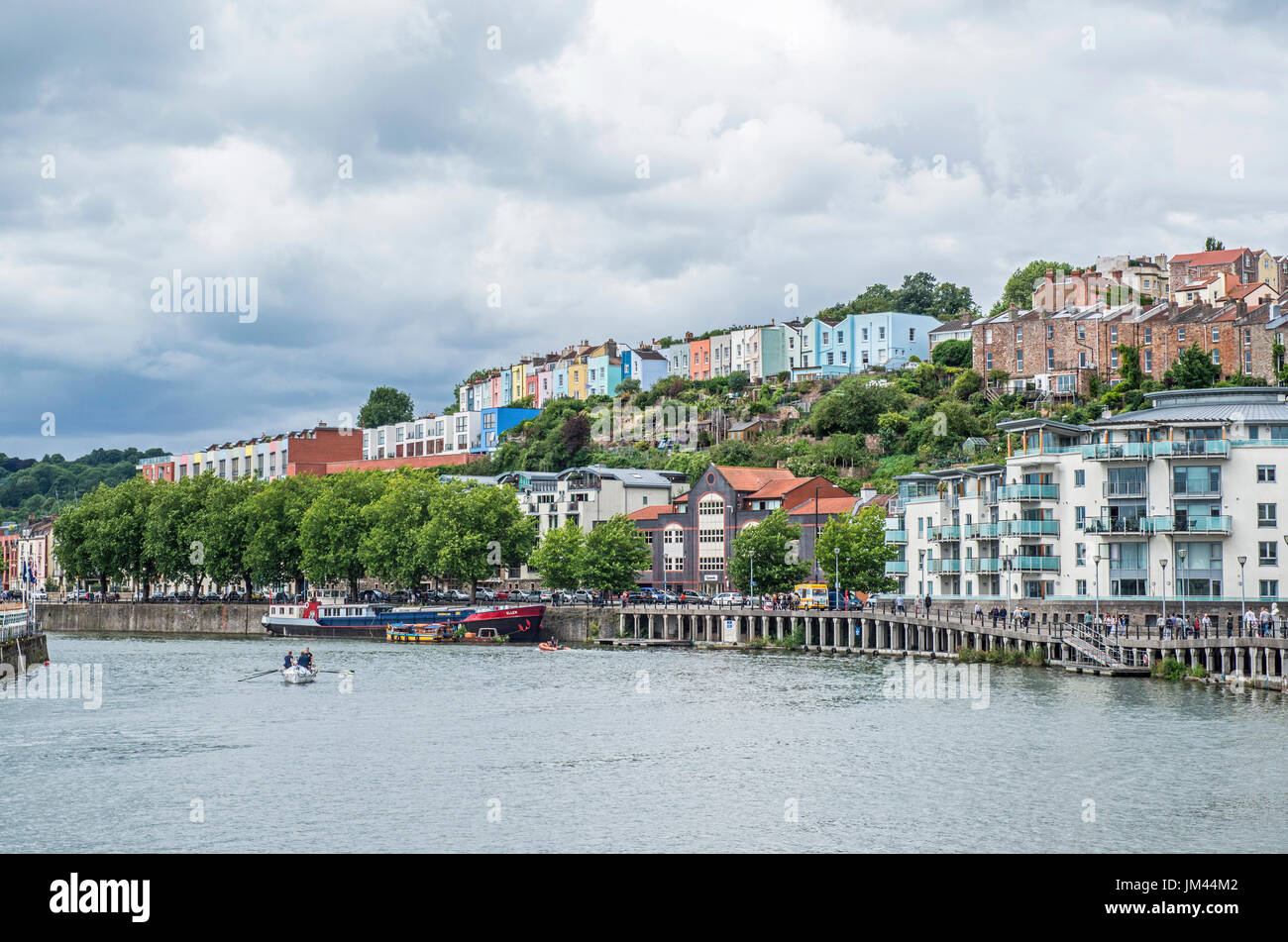 Bristol Floating Harbour looking towards Clifton - Stock Image