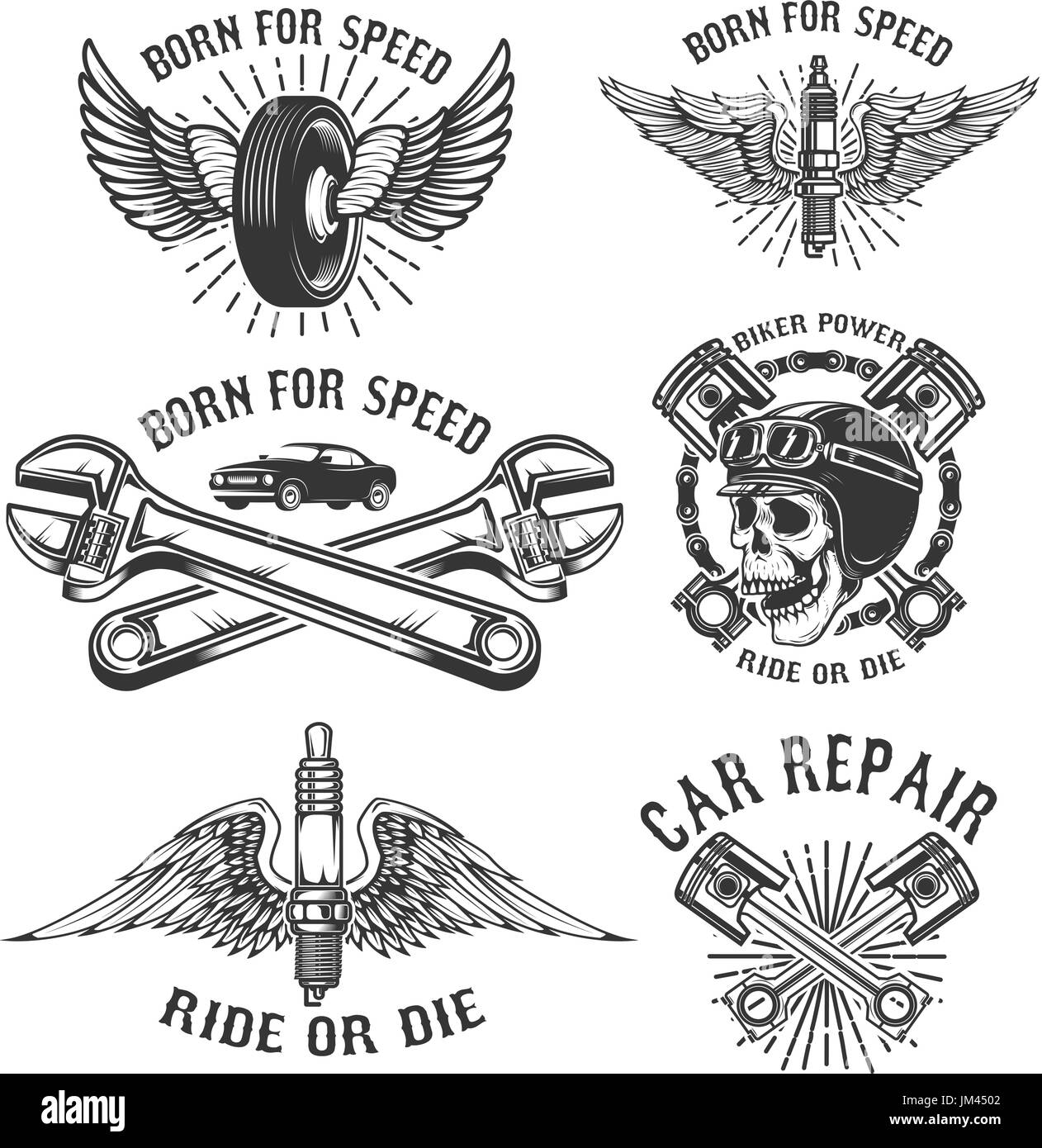 Set of car repair and racing emblems  Spark plug with wings, racer