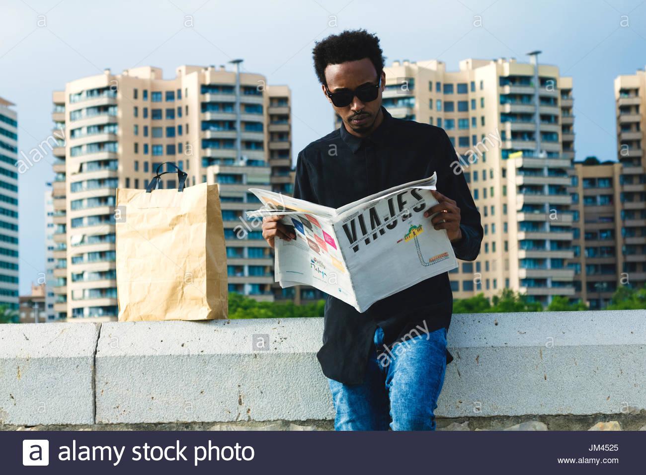 Joven afro en españa - Stock Image