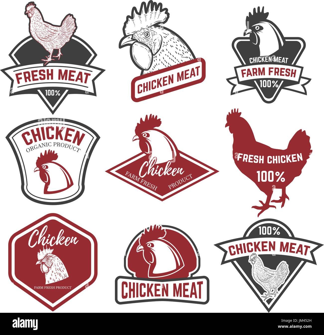 Chicken Vector Logo Farm Poultry Stock Photos Meat Diagram Symbol Set Of Labels Design Elements For Label Emblem Sign