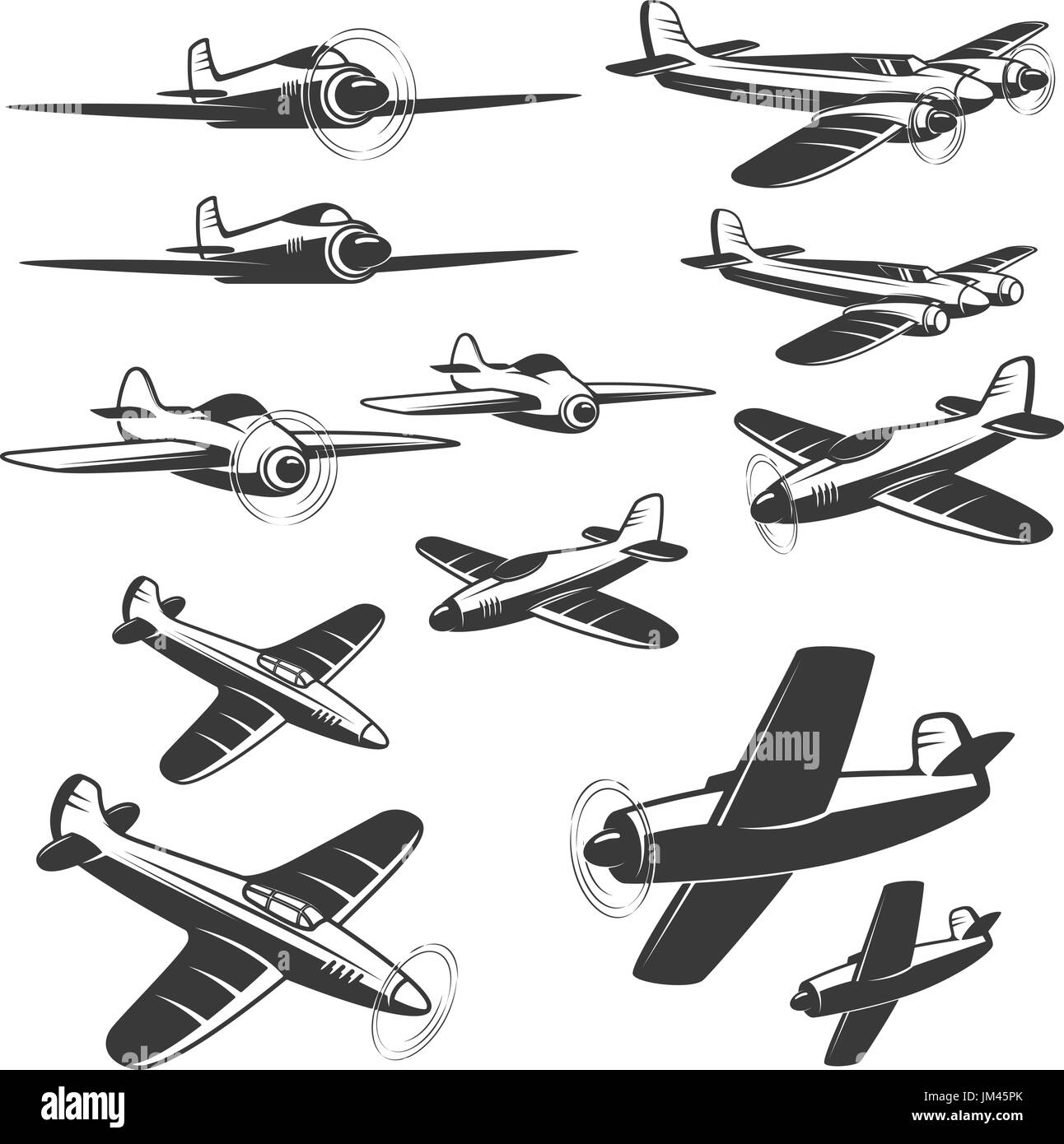 set of aircraft icons isolated on white background. Design elements for logo, emblem, sign. Vector illustration. - Stock Image