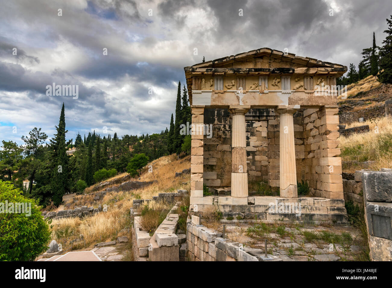 Athenian Treasury, Delphi, Central Greece, Greece Stock Photo
