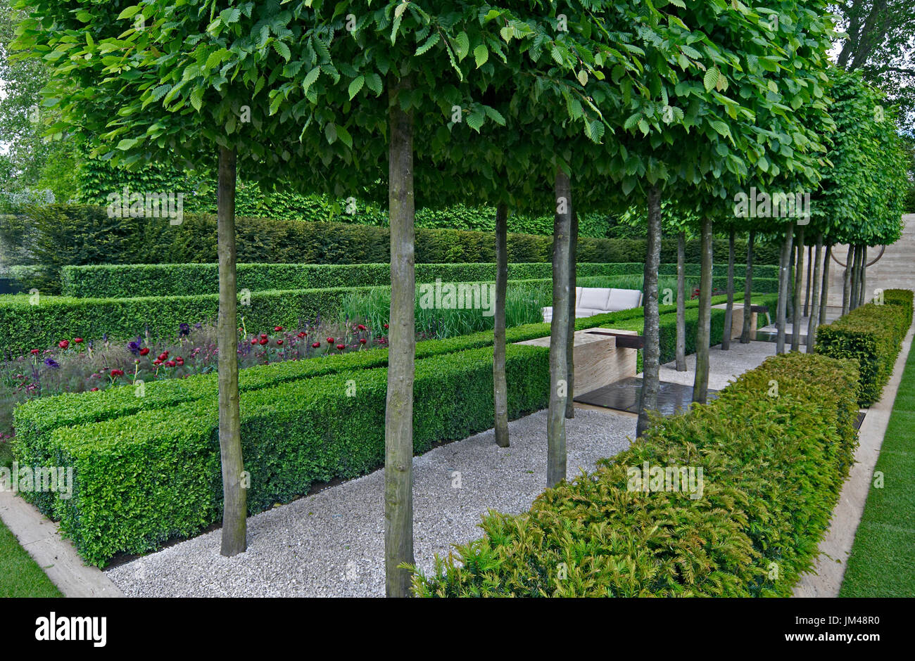 A classical garden with an avenue of yew, box and hornbeam leading to a water feature and sculpture Stock Photo