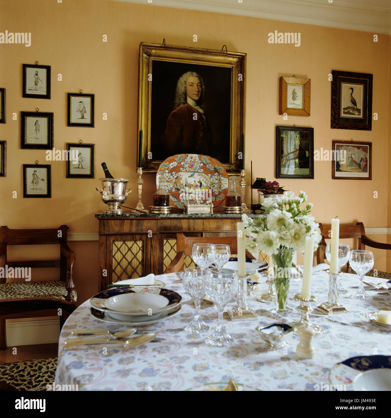 Dining room with portrait stock image