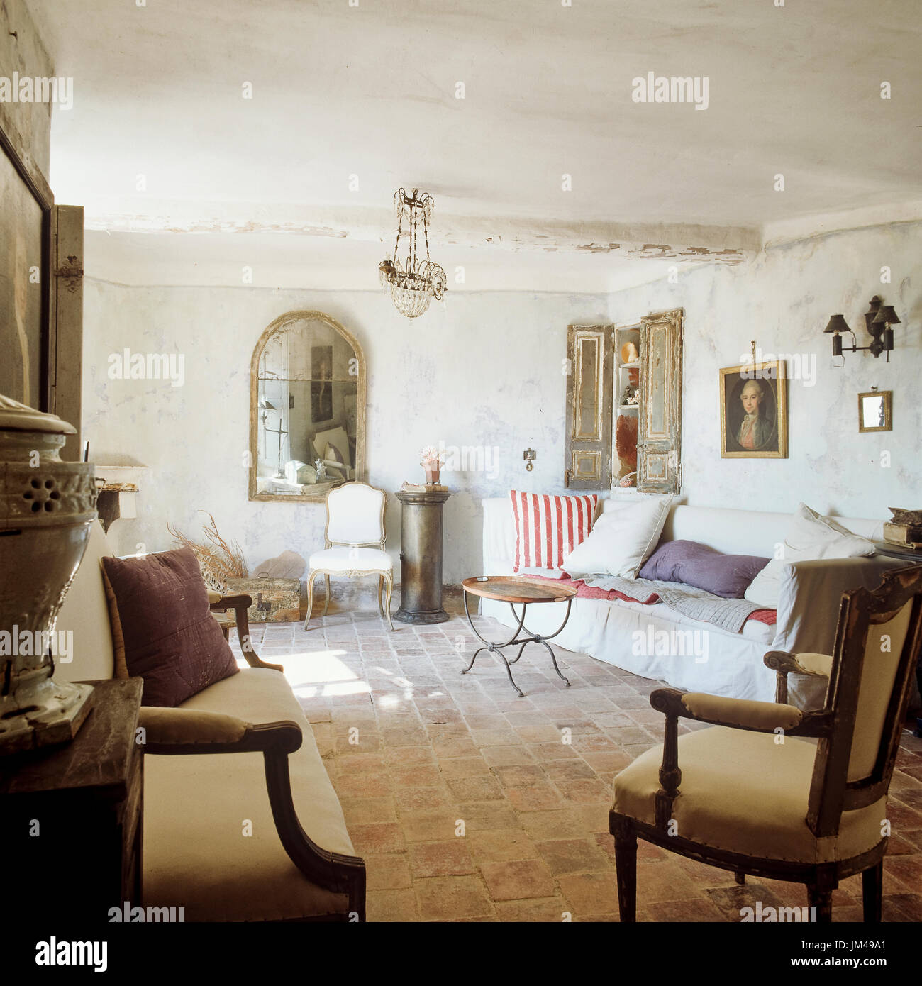 Mediterranean Style Living Room With Vintage Furnishings Stock Photo