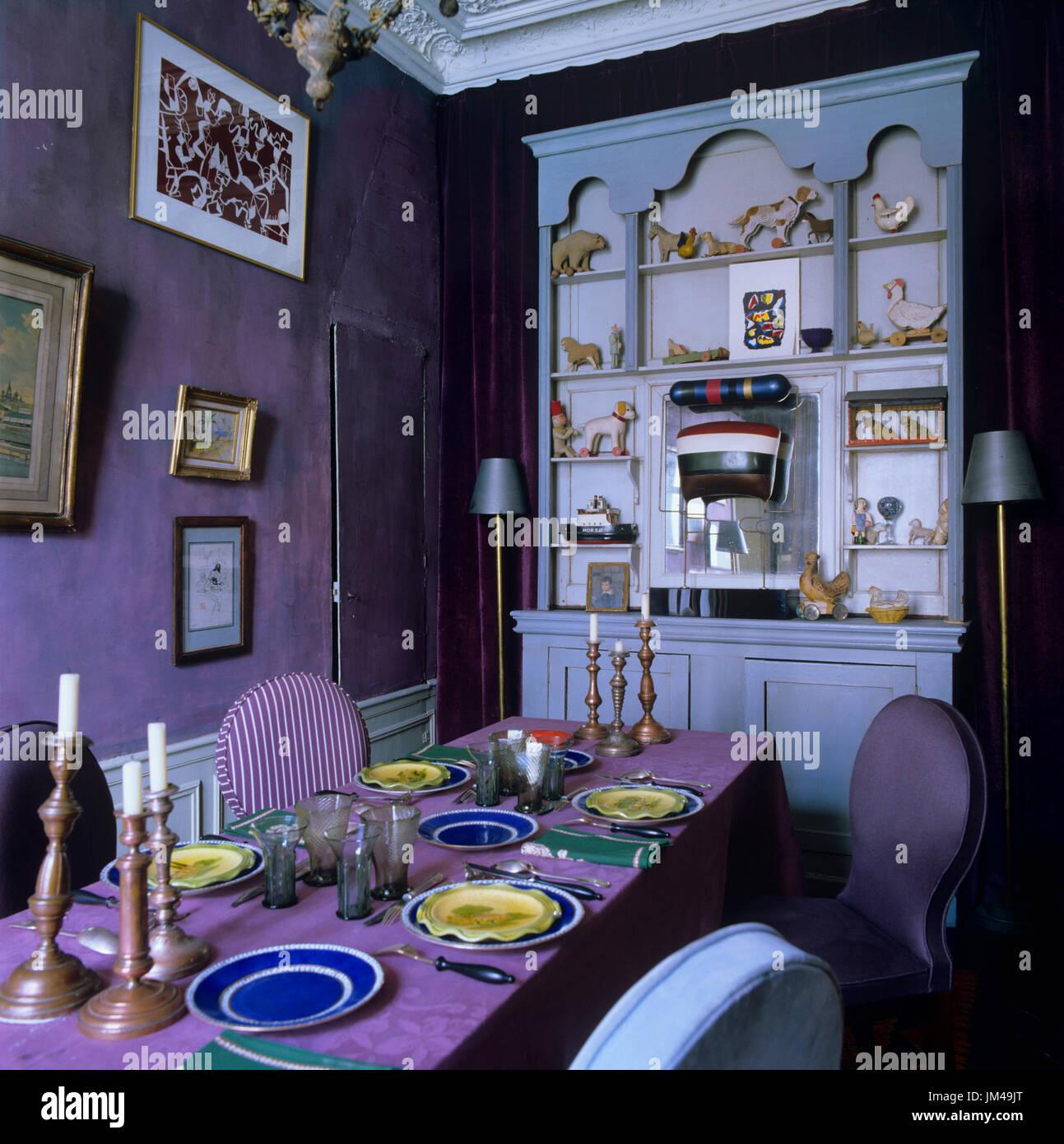 Dramatic Purple Dining Room   Stock Image