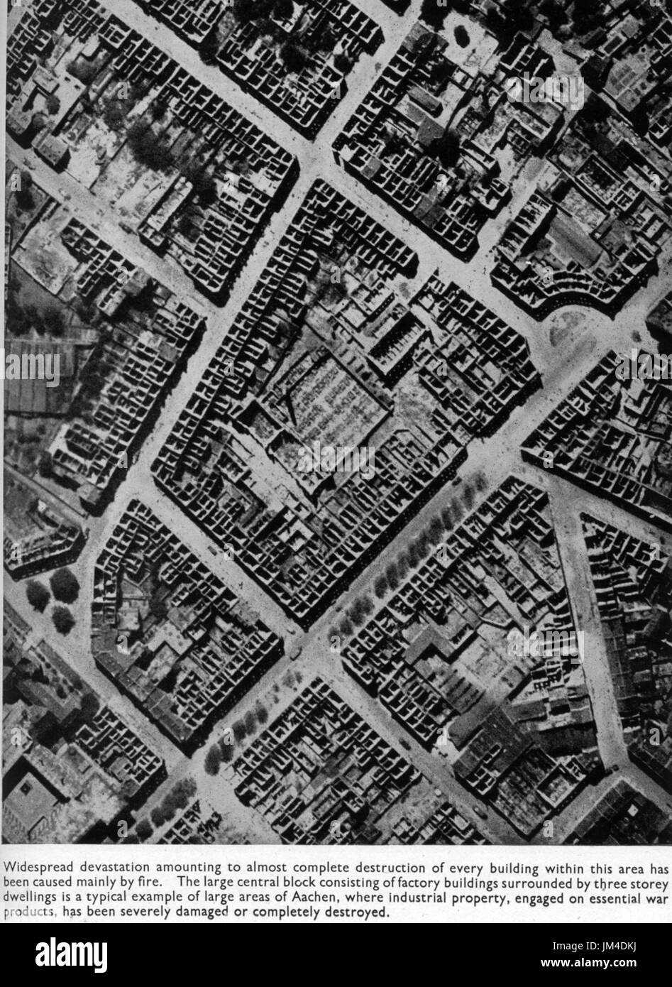 AACHEN RAF reconnaissance photo 14 July 1943 showing destruction of houses and factories. Photo: Evidence in Camera - Stock Image