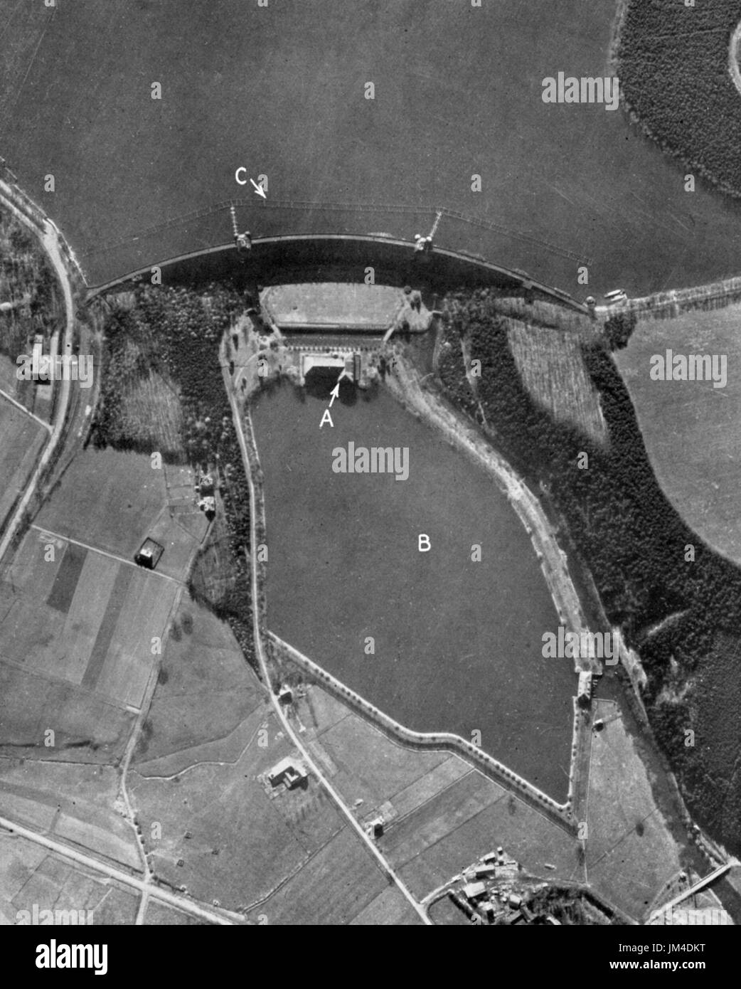MOHNE DAM, Germany. RAF reconnaissance photo prior to the raid in May 1943 - Stock Image