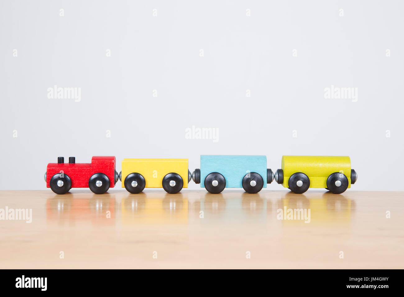 Colorful Train Set On Table Top Journey Concept Stock