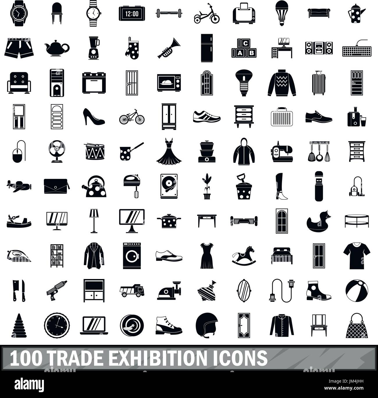 100 trade exhibition icons set, simple style  - Stock Vector