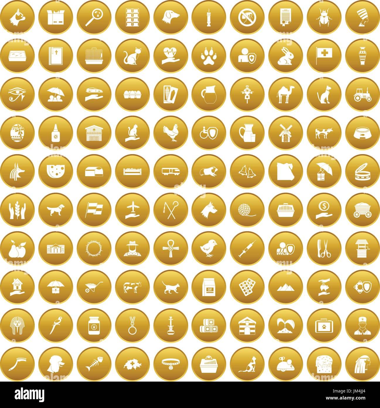 100 pets icons set gold - Stock Image