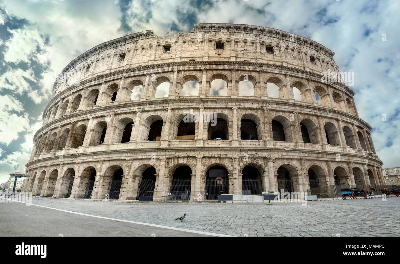 Panoramic view of colosseum in Rome. Italy - Stock Image