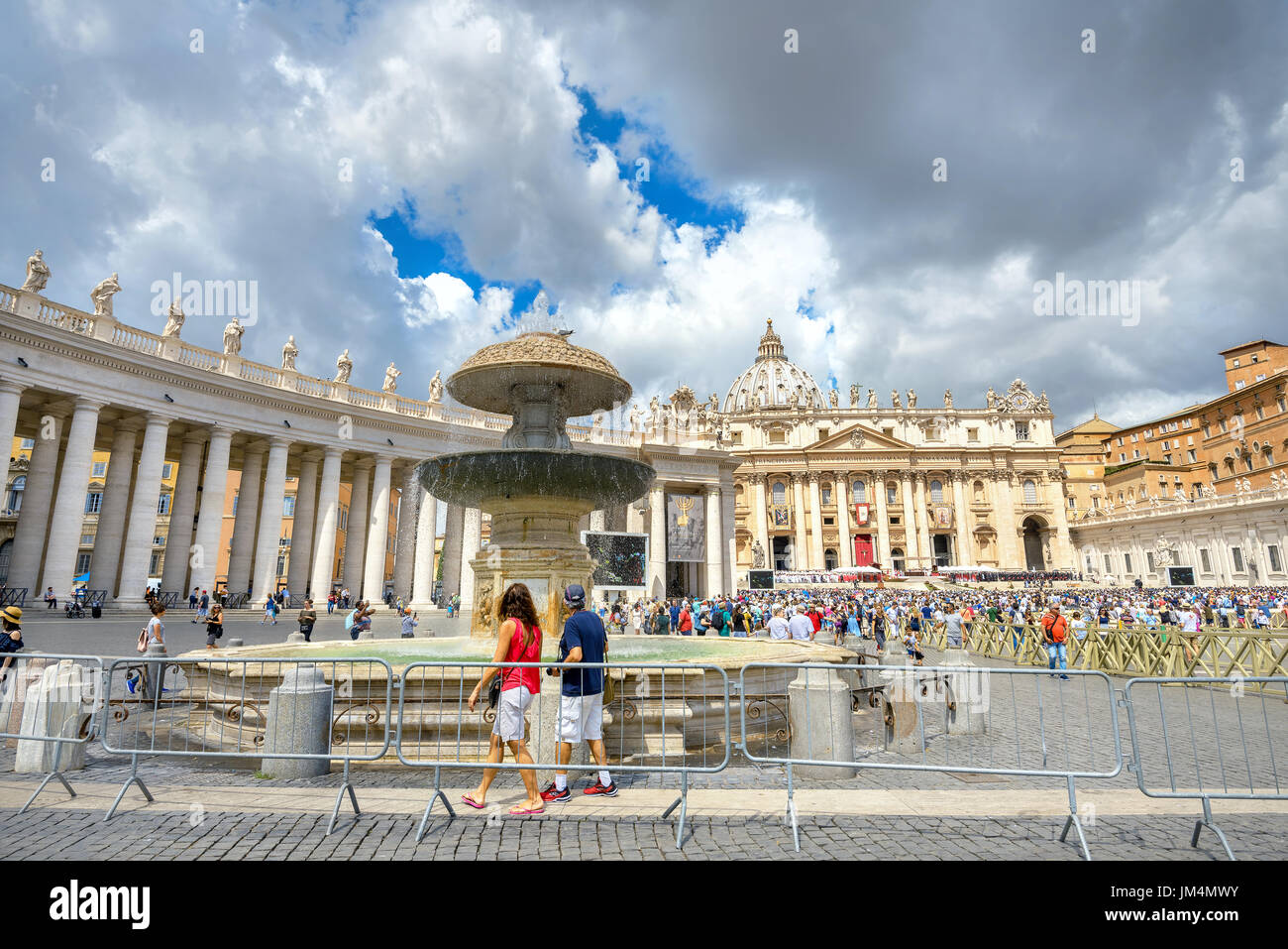 Many people celebrate and participate in a traditional solemn ceremony in feast day of St. Peter and St. Paul. Vatican, Rome, Italy - Stock Image