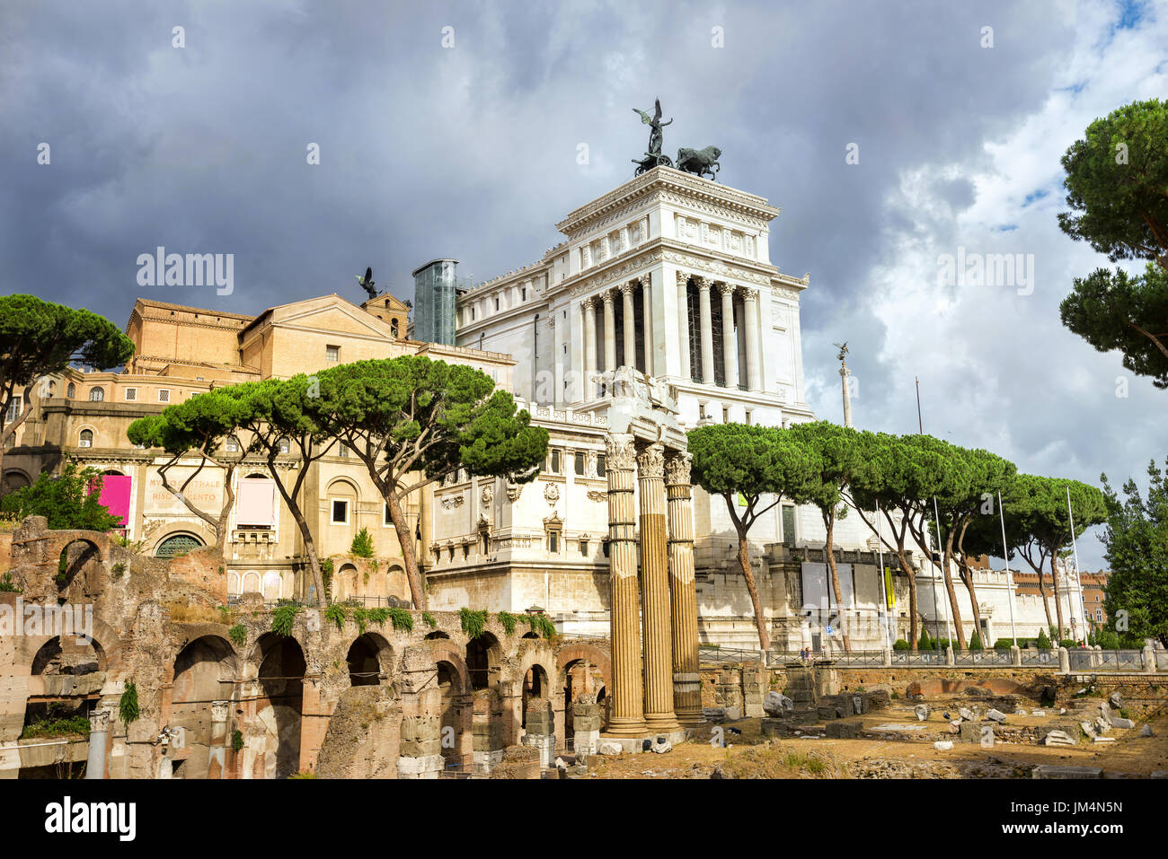 Ancient ruins of Roman Forum in Rome. Italy - Stock Image