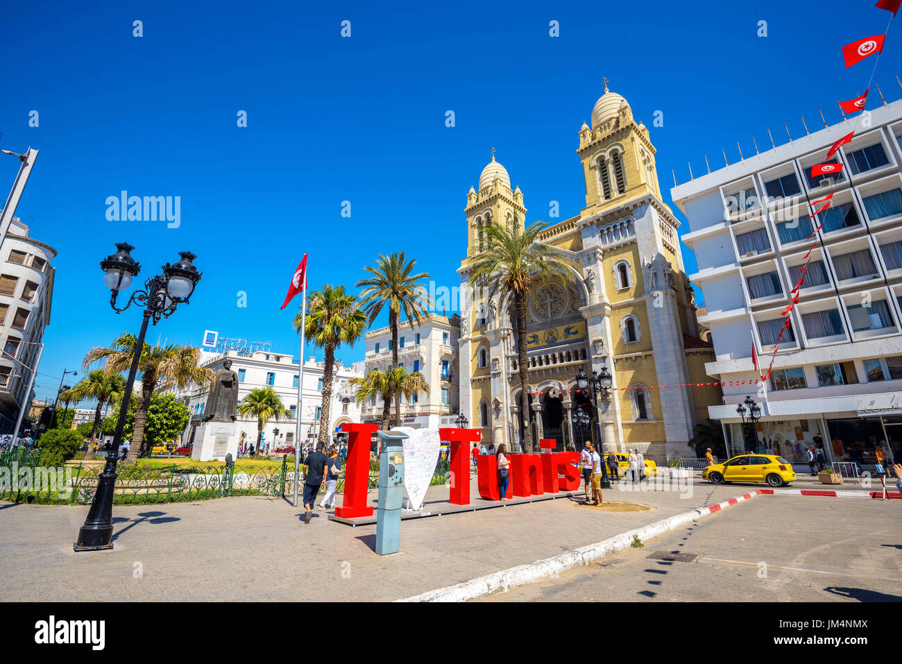 Catholic Cathedral of St. Vincent de Paul. Tunis, Tunisia, North Africa - Stock Image