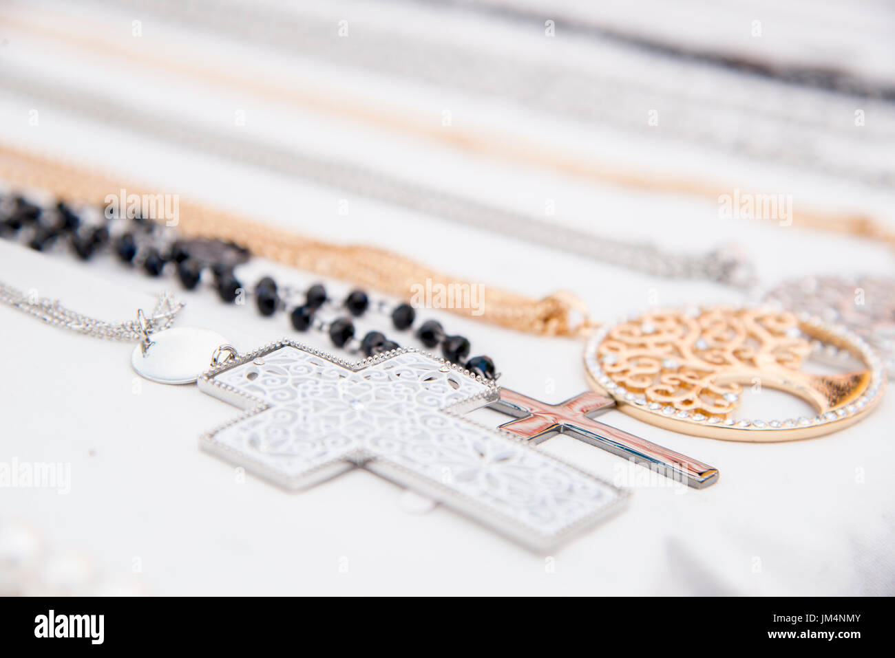 Street market - Souvenirs - Fashion - Accessory - Colourful and various pieces of jewellery - Necklaces - Stock Image