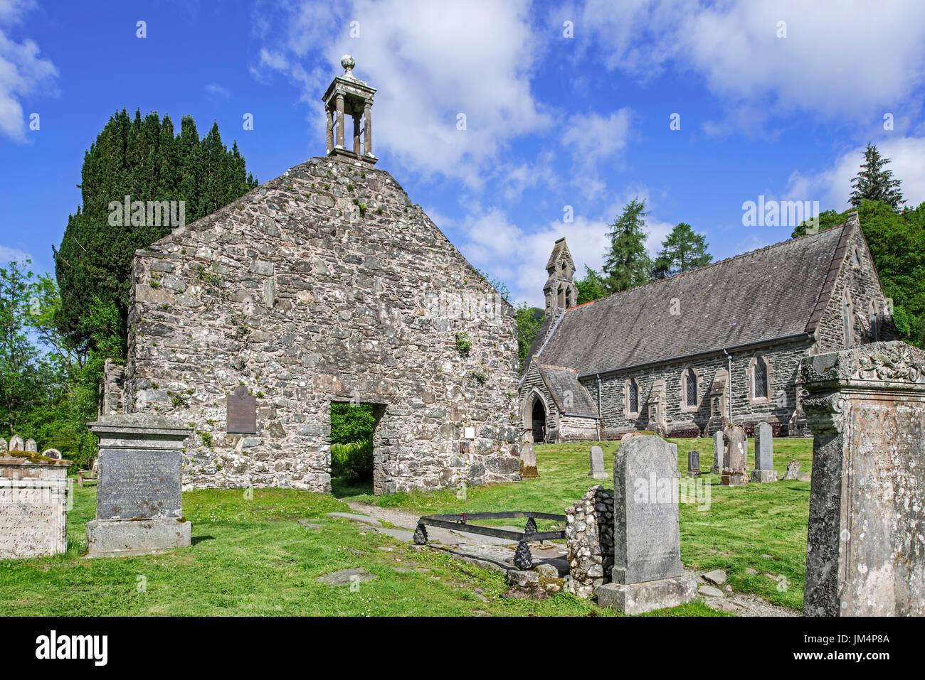 Balquhidder old and new parish church and kirkyard, final resting place of Rob Roy MacGregor, Stirling, Scotland, UK Stock Photo
