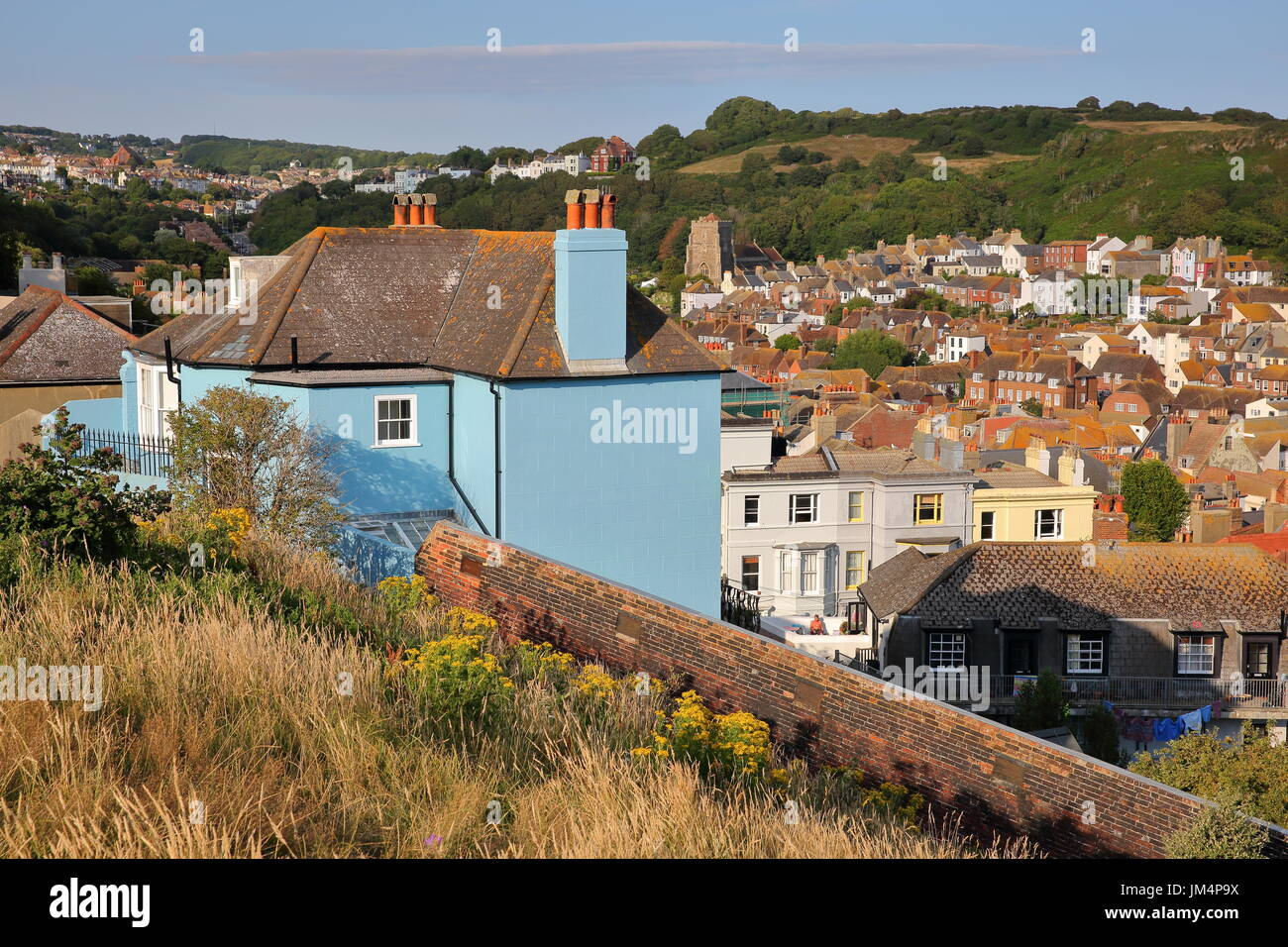 General view of Hastings old town from West Hill with East hills in the background, Hastings, UK - Stock Image